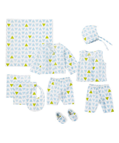 10pc. Blue and Green Layette Set - Kids Wholesale Boutique Clothing, 10-pc. set - Girls Dresses, Yo Baby Wholesale - Yo Baby