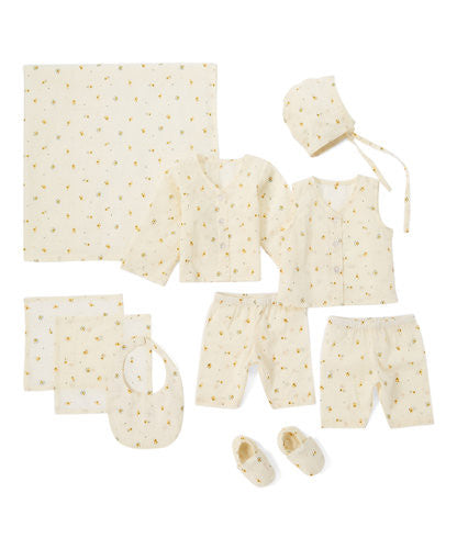 10pc. Off White with Delicate Yellow Flower Layette Set - Kids Wholesale Boutique Clothing, 10-pc. set - Girls Dresses, Yo Baby Wholesale - Yo Baby