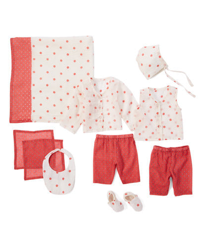 10pc. Pink and White Polka Dot Layette Set - Kids Wholesale Boutique Clothing, 10-pc. set - Girls Dresses, Yo Baby Wholesale - Yo Baby