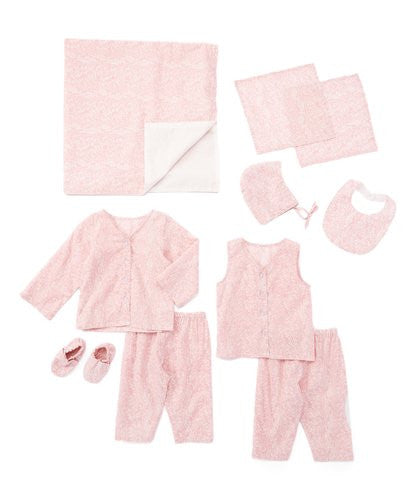 10pc. Light Pink Floral Print Layette Set - Kids Wholesale Boutique Clothing, 10-pc. set - Girls Dresses, Yo Baby Wholesale - Yo Baby