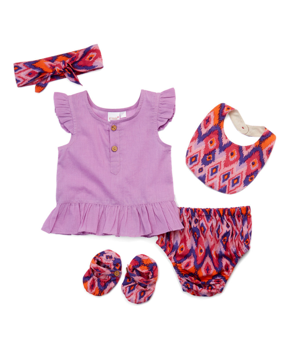 Lavender Ikat Print 5 pc. Set - Kids Wholesale Boutique Clothing, 5-pc. Set - Girls Dresses, Yo Baby Wholesale - Yo Baby