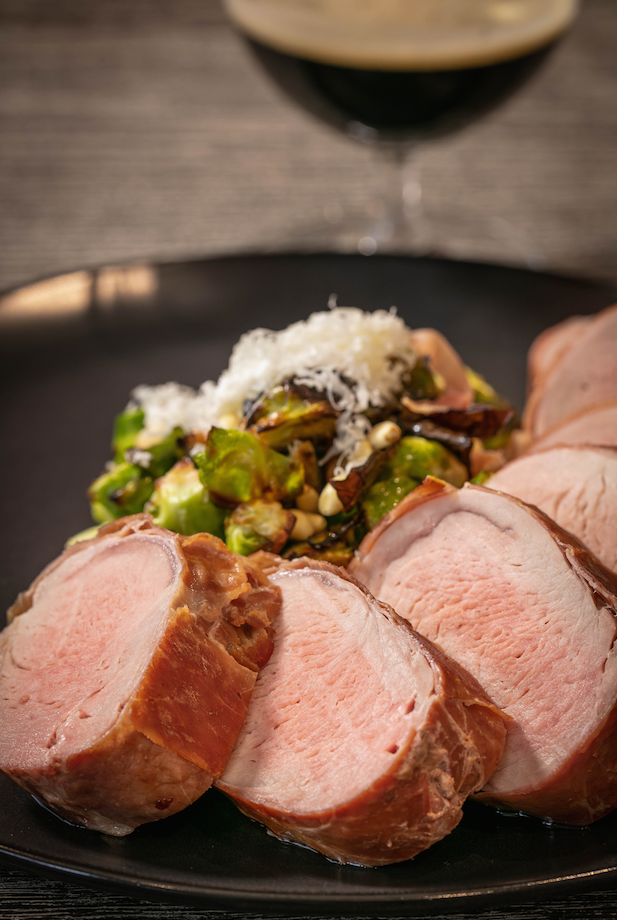Prosciutto-Wrapped Tenderloin with Brussel Sprouts Recipe