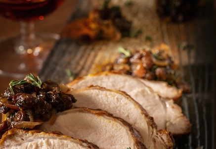 Photo ofRoasted Pork Loin with Raisin Shallot Recipeby Tender Belly