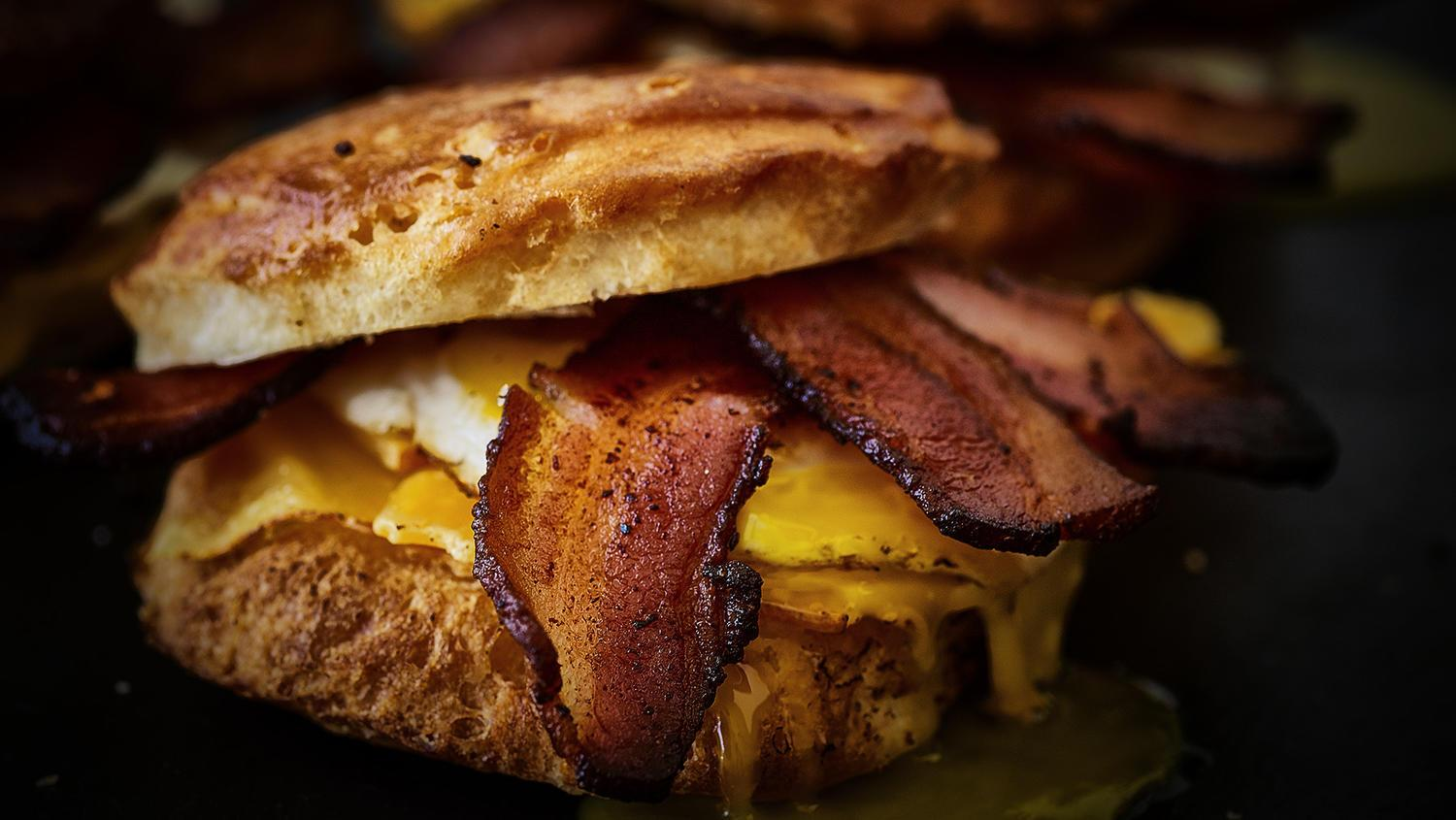Picture of a delicious bacon egg and cheese biscuit