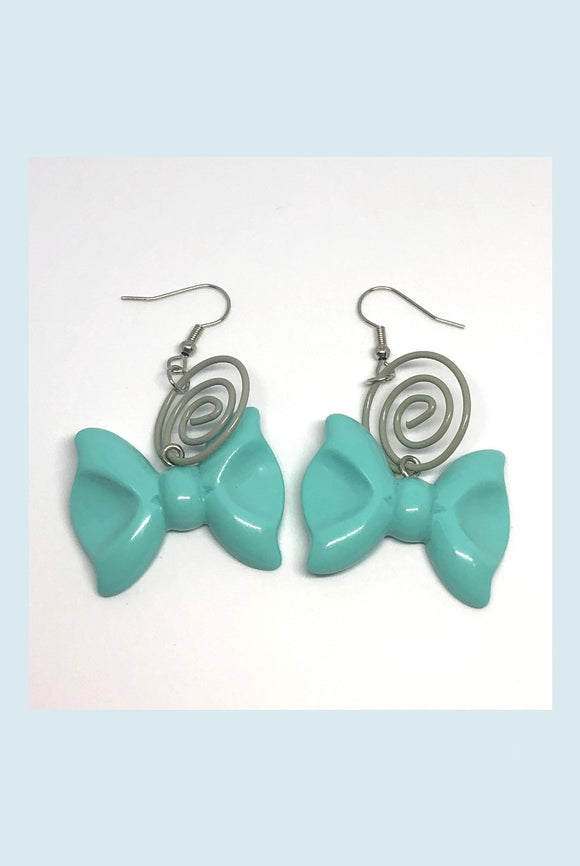 ☯Teal Bow Earring☯