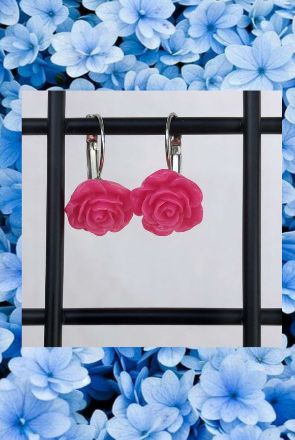 ☯Pink Rose Earrings☯