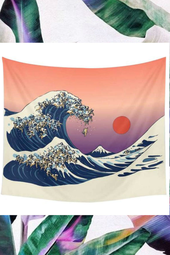 Wave with the Japanese Sun Tapestry