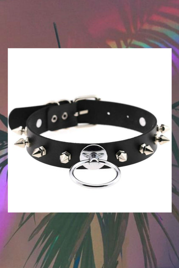 O Ring Spiked Choker