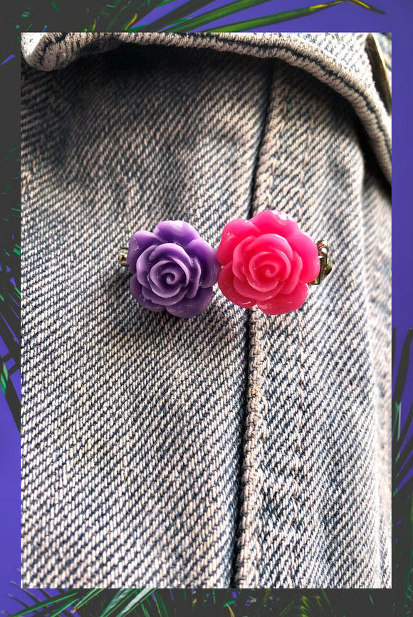 ☯Pink and Purple Roses Pin☯