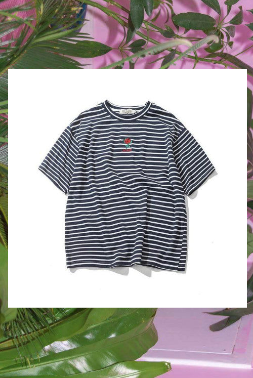 Striped Rose Embroidery Shirt