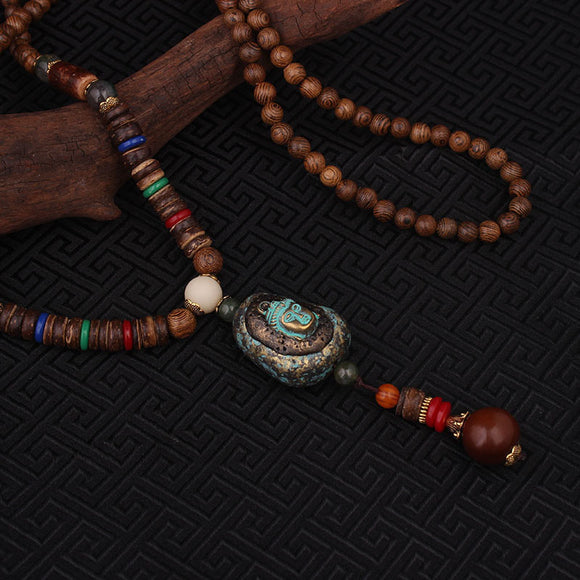 Wood Ethnic Buddha Pendant Necklace