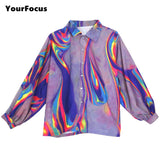 Rainbow Oil Spill Button Up Shirt