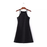 Halter Black Grid Dress