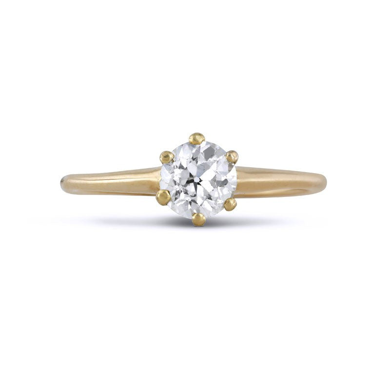 Edwardian Old European Solitaire Diamond Ring in 14k Yellow Gold