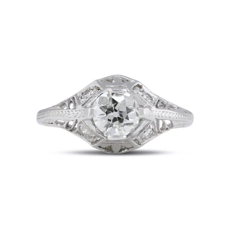 43f16127810 Art Deco Old European Diamond Solitaire Filigree Ring in 14k White Gold