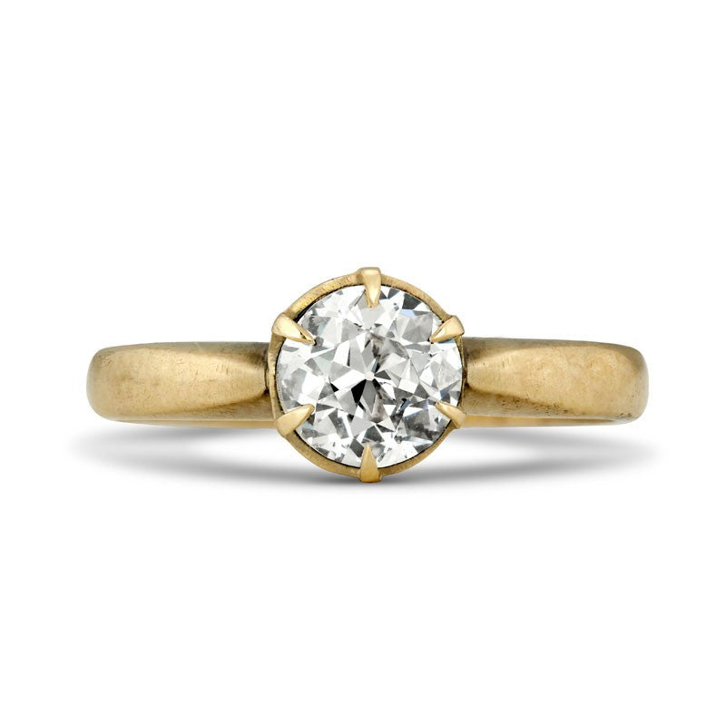Victorian Diamond Solitaire Engagement Ring in 14K Yellow Gold