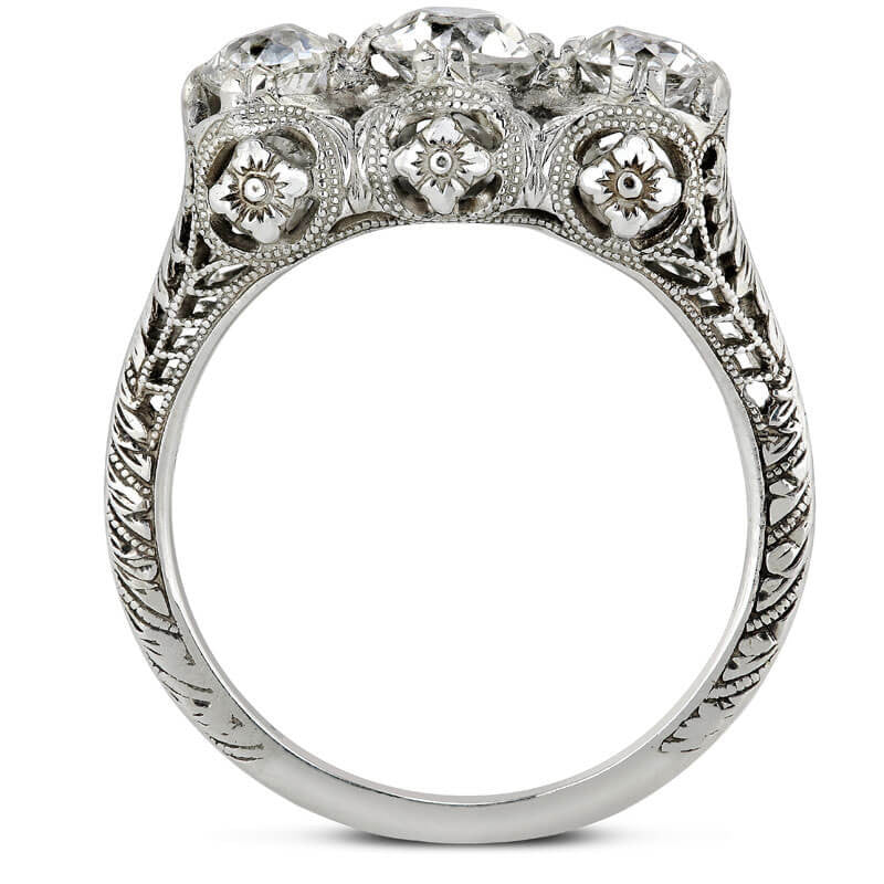 edwardian old european diamond three stone filigree ring in 18k white gold - Old Wedding Rings