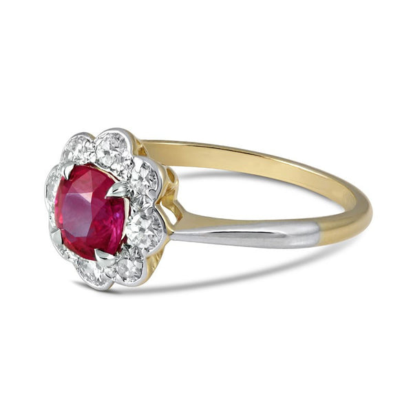 Custom Burma Ruby Ring: Edwardian Burma Ruby & Diamond Halo Ring