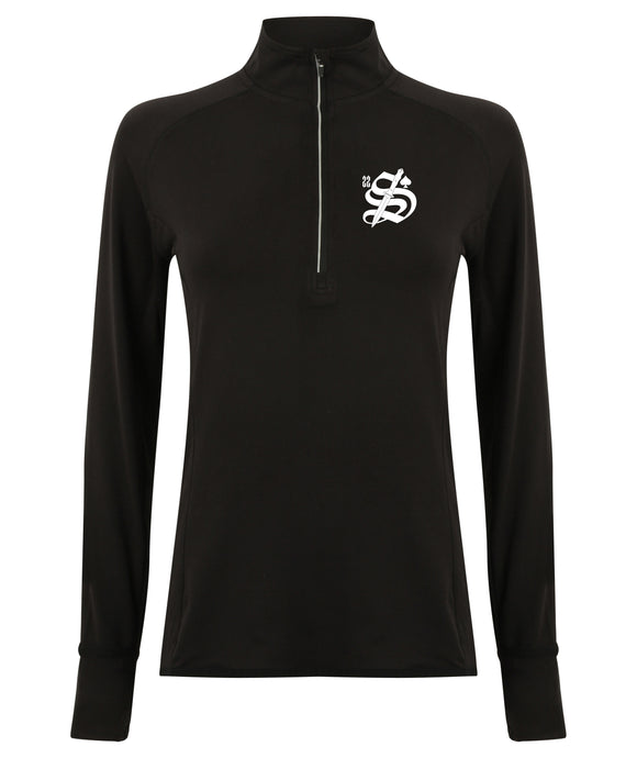 22 Smokin AceS - Female Long Sleeved 1/4 Zip Performance Top