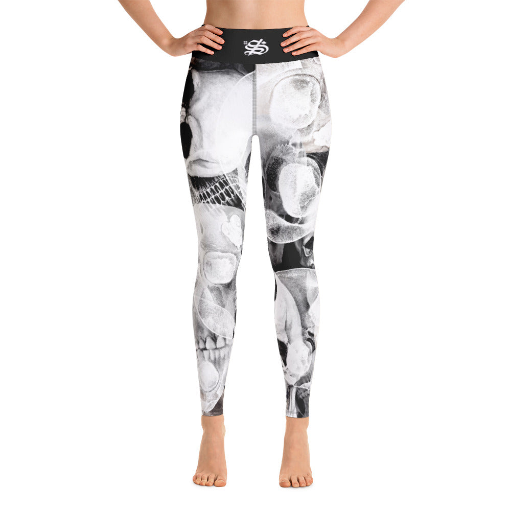 22 Smokin AceS - Yoga Leggings - White on Black