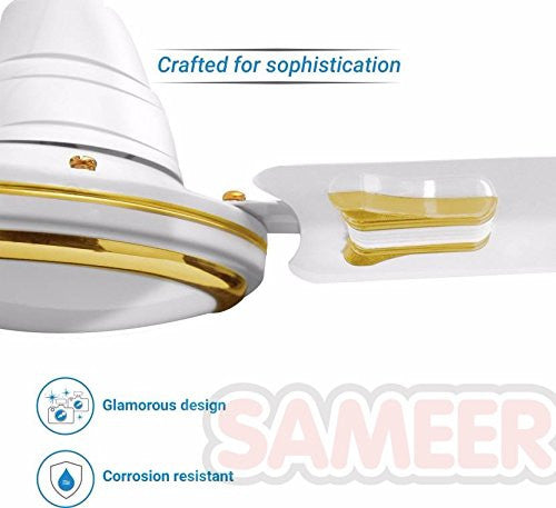 Sameer Ruby White 1200mm Decorative Ceiling fan,400 R.P.M,100% Copper motor,2 Years Warranty