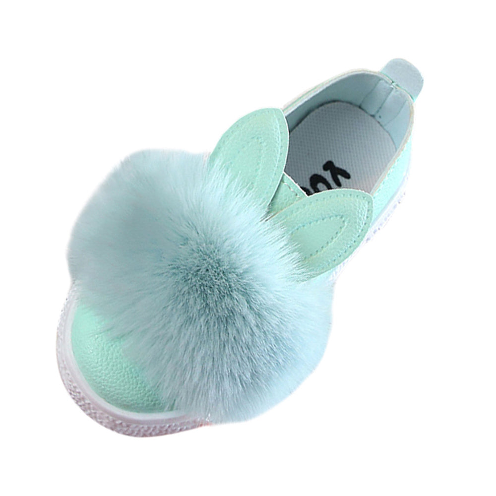 Children Toddler Baby Fur Sneaker Girls Cute Bunny Soft Anti Slip Ring Universal Up To 55 Inch Single Shoes