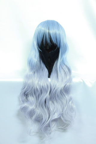 Long Light Blue and Grey Curly Wig