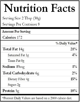nutritional value of almond butter made in canada
