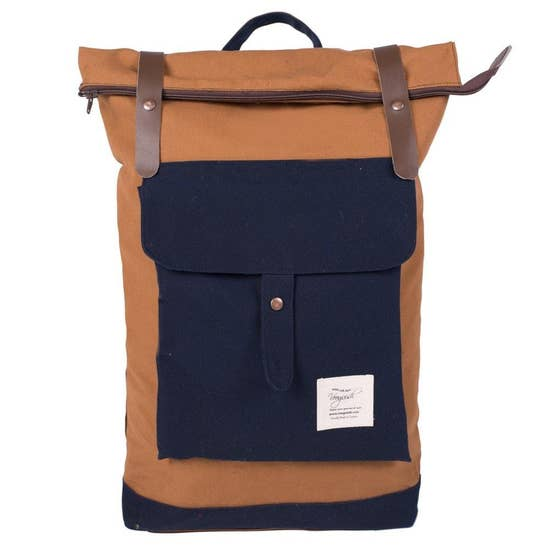 brown and navy backpack