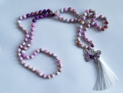 butterfly mala bead in pink