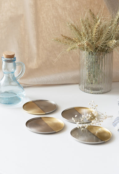 Two tone nickel & brass coasters - Fleck