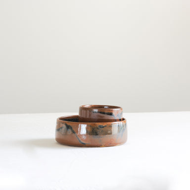 Handmade studio pottery cognac ceramic bowl set