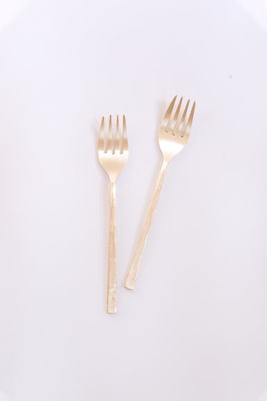 Wabi Dinner Forks, Brass - Fleck