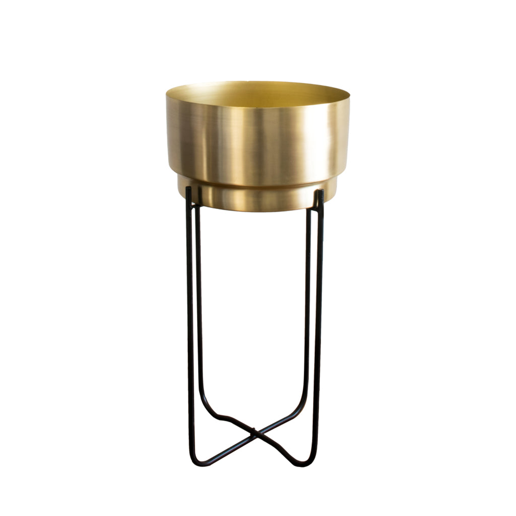 Large Matte gold planter with black stand