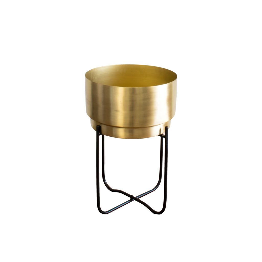 Small Matte gold planter with black stand