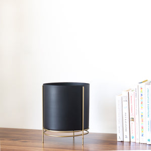 Noir black Planter with gold stand placed  on a table top with books next to it