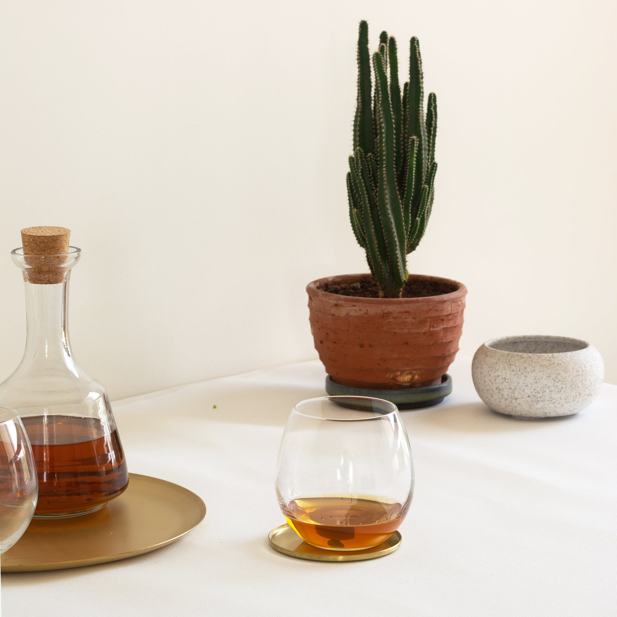 glass tumbler kept on brass coasters with plant in the background. Made by fleck india. Part of heirloom collection.