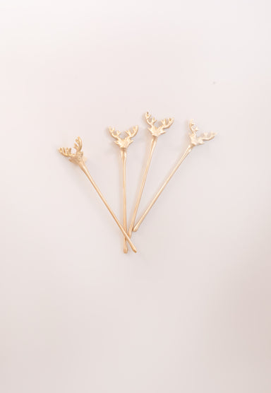 Deer Stirrers, Set Of 4 - Fleck