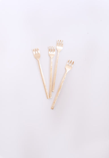 Wabi Dessert Forks, Set of 4,  Brass - Fleck