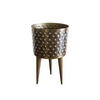 Large rustic gold hammered planter