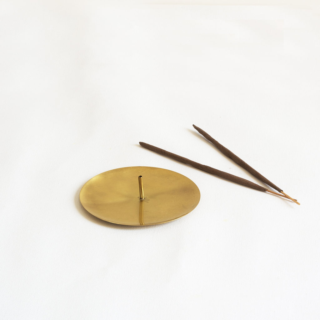 Brass Incense stick holder with two incense stick. Part of heirloom collection by Fleck India