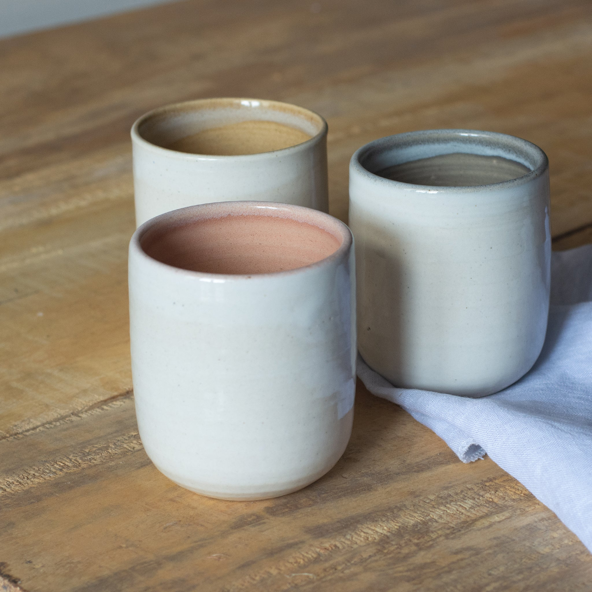 three tumblers on a table. Part of geode collection by fleck