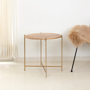 Copenhagen table next to a chair, made by Fleck India