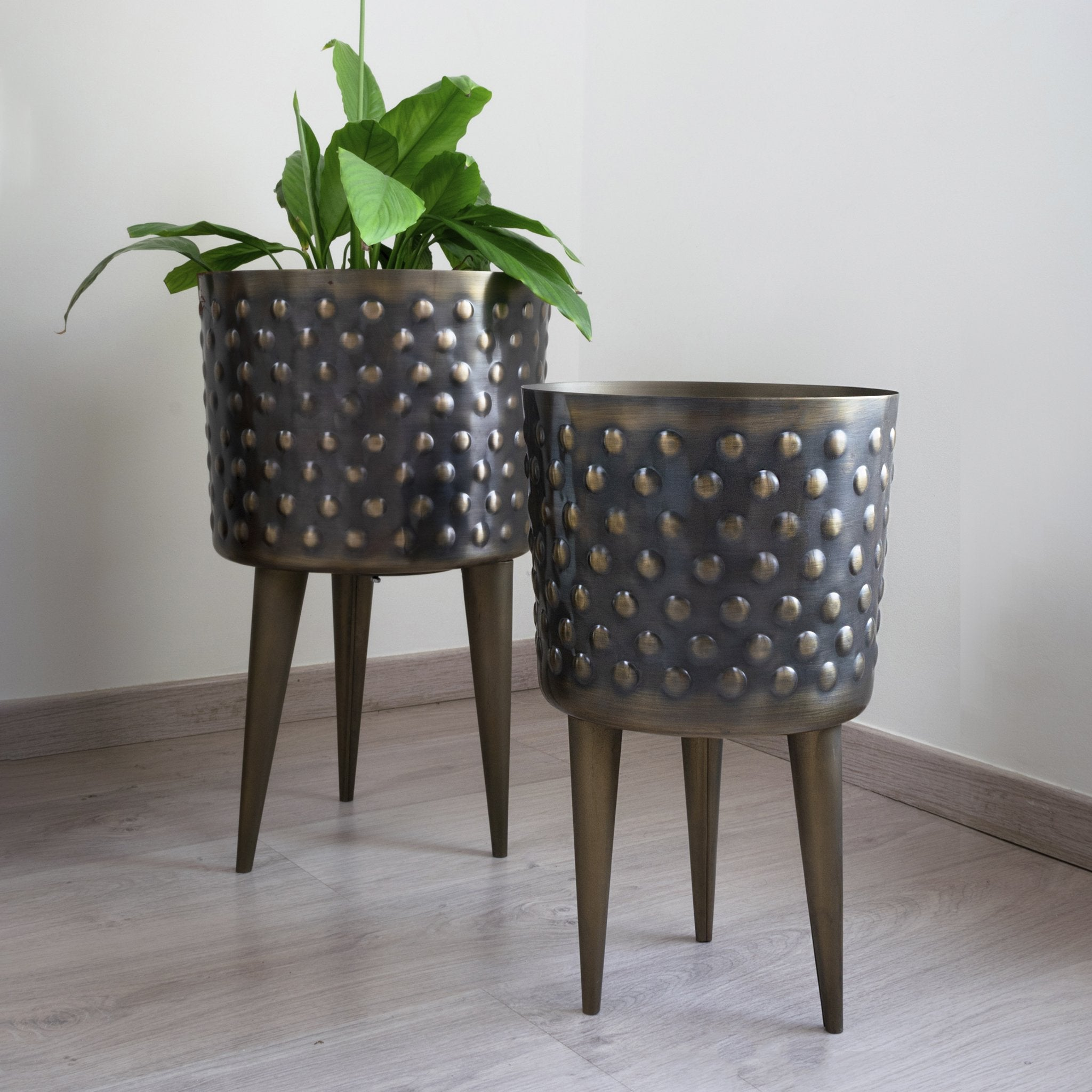 Set of two rustic gold hammered planters from fleck India, polka dot Planters