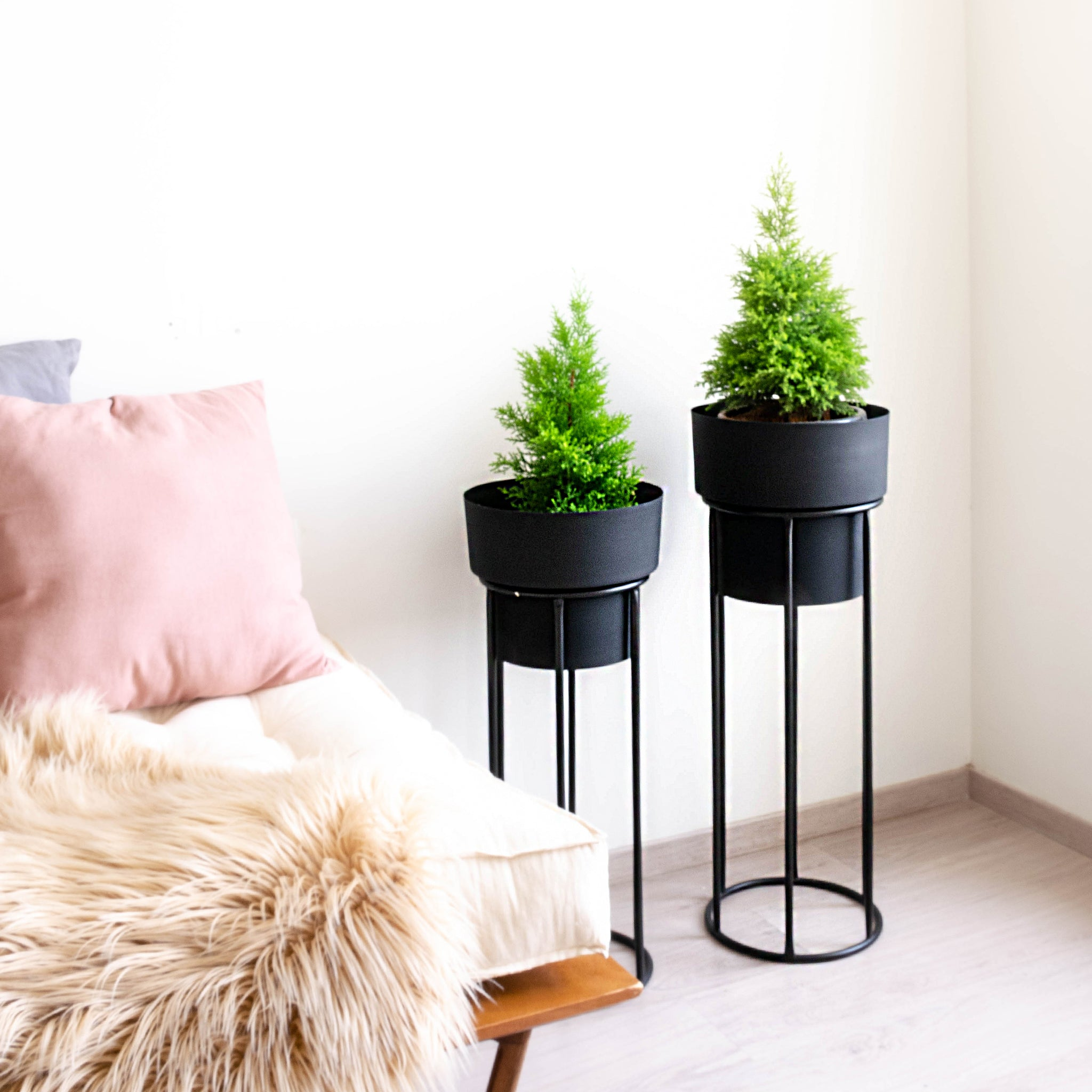 Two tall  planters, black pots with black stands, next to a daybed