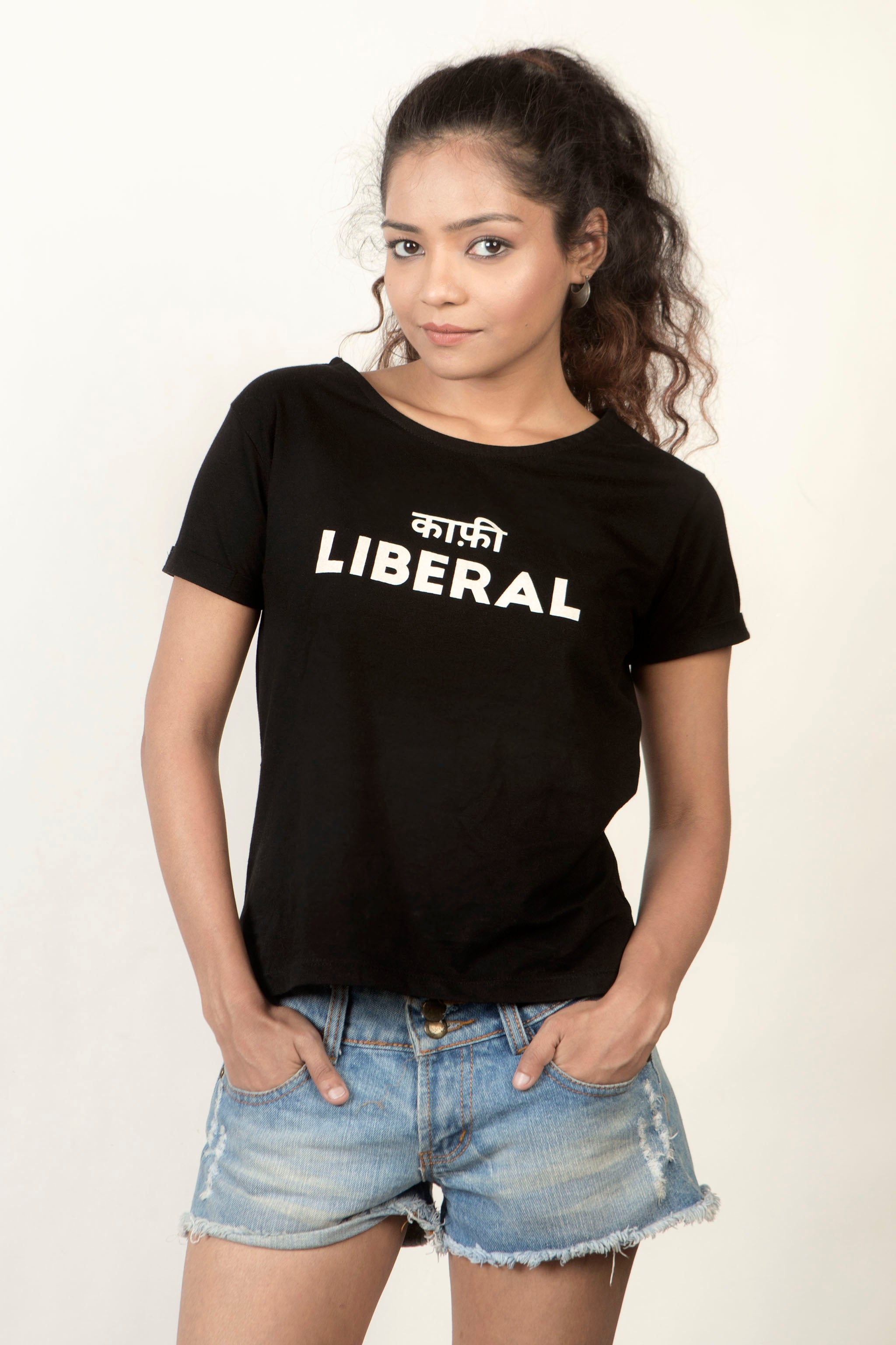 Buy Kaafi Liberal (Black) Women's T-Shirt Online In India At