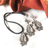 German Silver daily wear peacock pendant set