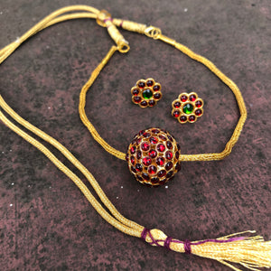 Rudraksha with gold chain choker set