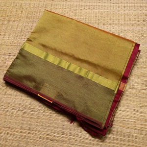 Gold shade handwoven silk cotton Saree with burgundy pallu and blouse piece