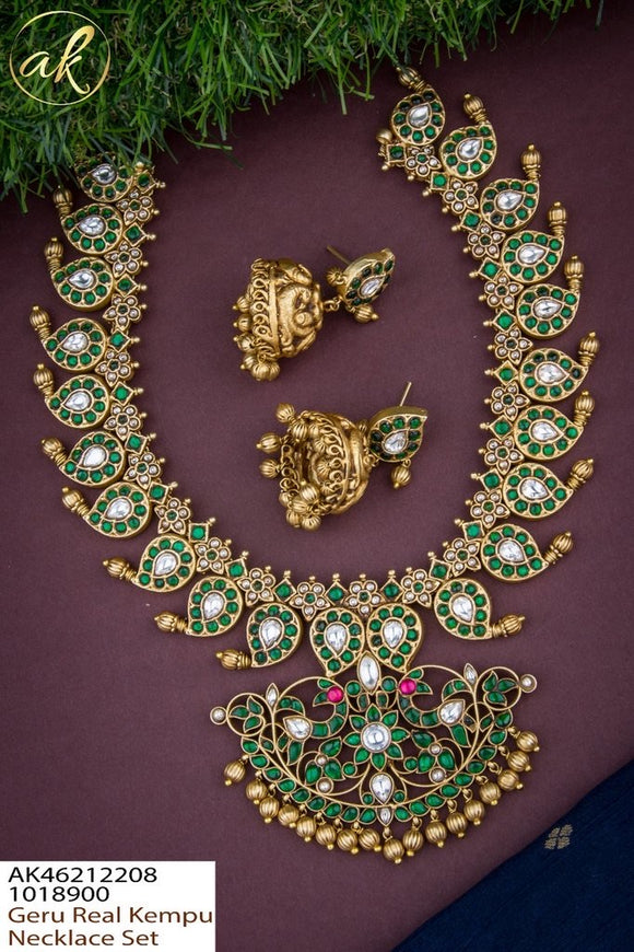 Kundan Jadau Emerald Bridal Haram Set (Variants available)